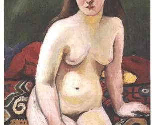 Female nude at a knited carpet — Август Маке
