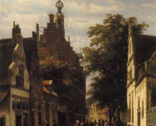 Figures in a Street in Delft — Корнелис Спрингер