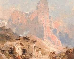 Figures in a Village in the Dolomites — Франц Рихард Унтербергер
