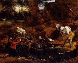 Figures With A Cart And Horses Fording A Stream — Ян Сиберехтс