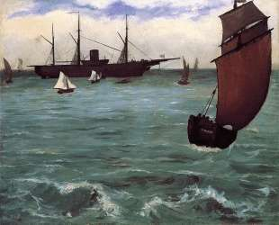 Fishing boat coming in before the wind (The Kearsarge in Boulogne) — Эдуард Мане