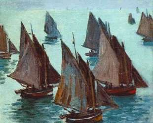 Рыбацкие лодки, спокойное море — Клод Моне