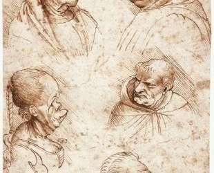 Five caricature heads — Леонардо да Винчи
