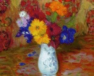 Flowers Against a Palm Leaf Pettern — Уильям Джеймс Глакенс