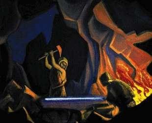 Ковка меча (Нибелунги) — Николай Рерих