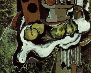 Фрукты на блюде со скатертью — Жорж Брак