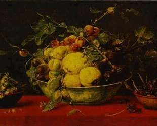 Fruits in a Bowl on a Red Tablecloth — Франс Снейдерс