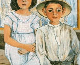 Girl sitting and boy with hat standing — Рафаэль Забалета
