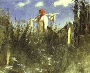 Girl with Washed Linen on the Yoke — Иван Крамской