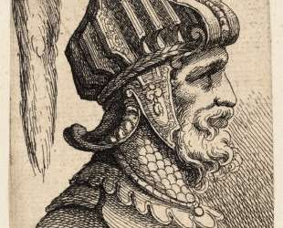 Helmet with long plume and chin strap — Пармиджанино