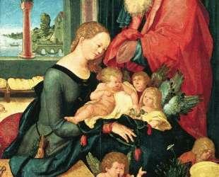 Святое семейство в покоях с пятью ангелами — Ханс Бальдунг