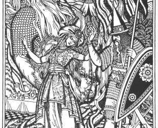 Иллюстрация к былине 'Илья Муромец и жена Святогора' — Иван Билибин