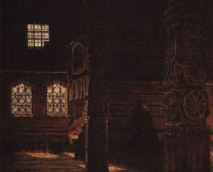 Interior of the Wooden Church of St. Peter and St. Paul in Puchug — Василий Верещагин