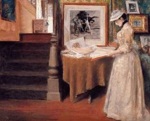 Interior, Young Woman at a Table — Уильям Меррит Чейз