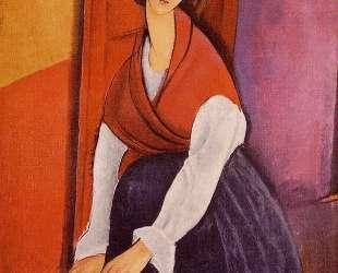 Жанна Эбютерн в красной шали — Амедео Модильяни