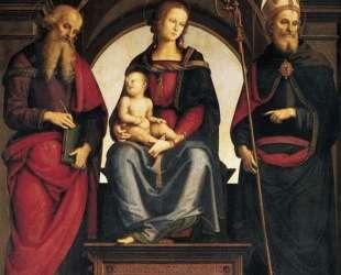 Мадонна на троне с младенцем между Св. Иоанном и Св. Августином — Пьетро Перуджино