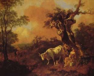 Landscape with a Woodcutter and Milkmaid — Томас Гейнсборо