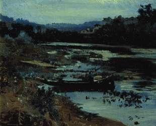 Пейзаж с лодкой — Илья Репин