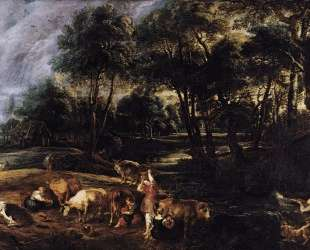 Landscape with Cows and Wildfowlers — Питер Пауль Рубенс