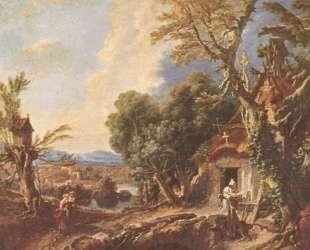Пейзаж с братом Лукой — Франсуа Буше