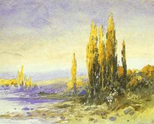 Lombardy Poplars on the Bank of a Lake. Evening — Фёдор Васильев
