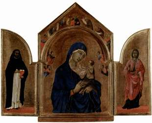 London triptych, Madonna with angels and prophets — Дуччо
