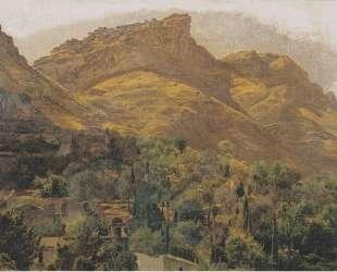 Look to the mountain town of Mola at Taormina — Фердинанд Георг Вальдмюллер