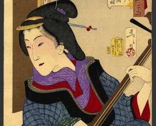 Looking as if she is enjoying herself — a teacher of the Keisei era — Цукиока Ёситоси