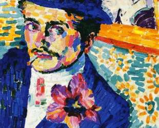 Man with a Tulip (also known as Portrait of Jean Metzinger) — Робер Делоне