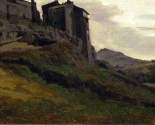 Марино, большое здание на скалах — Камиль Коро