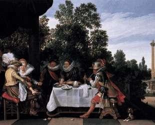 Merry company banqueting on a terrace — Эсайас ван де Вельде