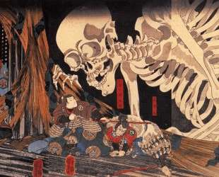 Mitsukini Defying the Skeleton — Утагава Куниёси