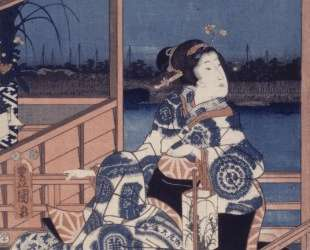Moonlight View of Tsukuda with Lady on a Balcony — Утагава Кунисада