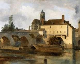 Море-сюр-Луен, мост и церковь — Камиль Коро