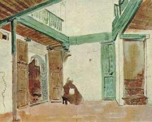 Марокканский двор — Эжен Делакруа