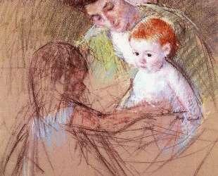 Мать и дочь смотрят на малыша — Мэри Кассат