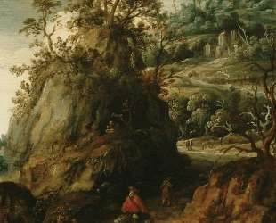 Mountainous landscape with traveller — Эсайас ван де Вельде