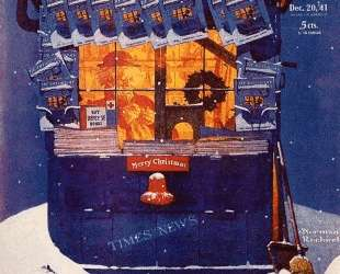 News Kiosk in the Snow — Норман Роквелл