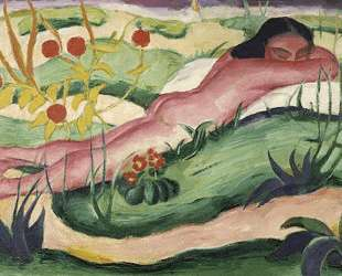 Nude Lying In The Flowers — Франц Марк