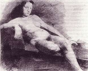 Nude woman reclining on a couch — Томас Икинс