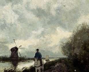 On The Tow Path Along The River Amstel — Иохан Хендрик Вейсенбрух