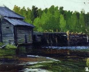 Павловская мельница на реке Яхруст — Борис Кустодиев