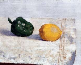 Pepper and Lemon on a White Tablecloth — Одилон Редон