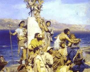 Phryne on the Poseidon's celebration in Eleusis (detail) — Генрих Семирадский