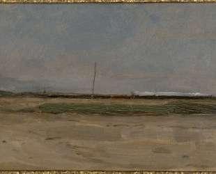 Вид на польдер с поездом и маленькой ветряной мельницей на горизонте — Пит Мондриан