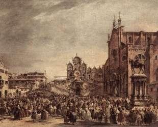 Pope Pius VI Blessing the People on Campo Santi Giovanni e Paolo — Франческо Гварди