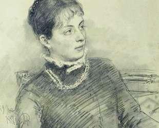 Портрет молодой жены, сидящей на диване — Илья Репин