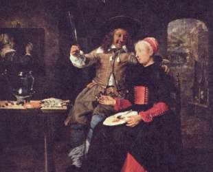 Portrait of the Artist with his Wife Isabella de Wolff in a Tavern — Габриель Метсю