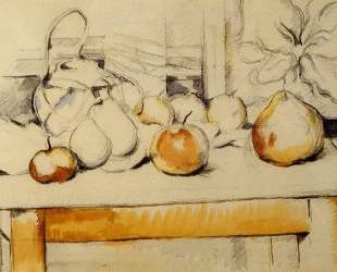 Pot of Ginger and Fruits on a Table — Поль Сезанн