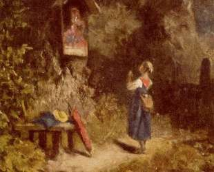 Praying peasant girl in the woods — Карл Шпицвег